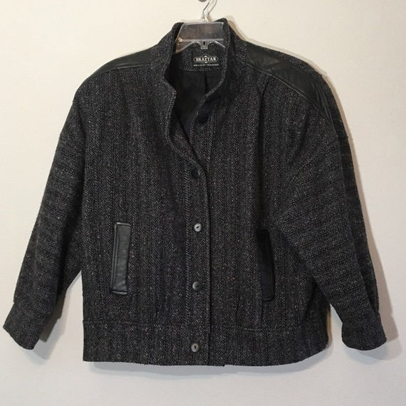 Vintage 80's Jacket Leather 1980's Black Gray