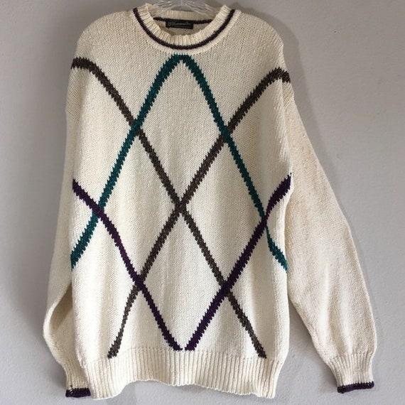 Mens Vintage Sweater Oversized Preppy Pattern Knit