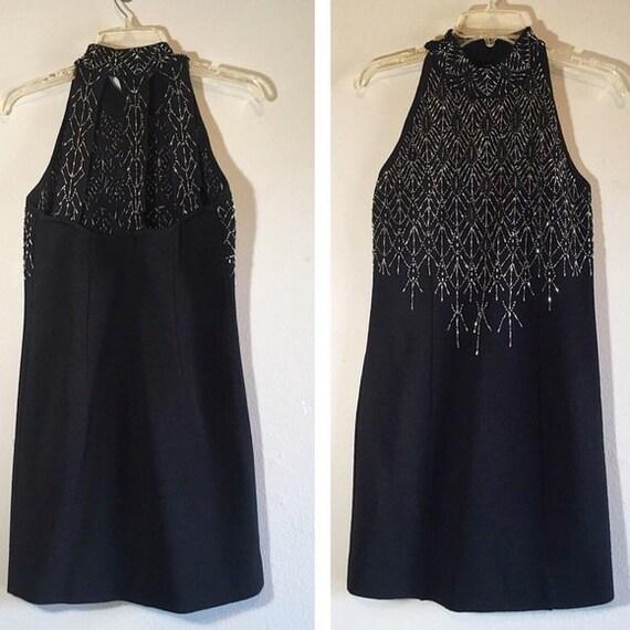 Vintage Embellished Dress Caged Beaded Backless