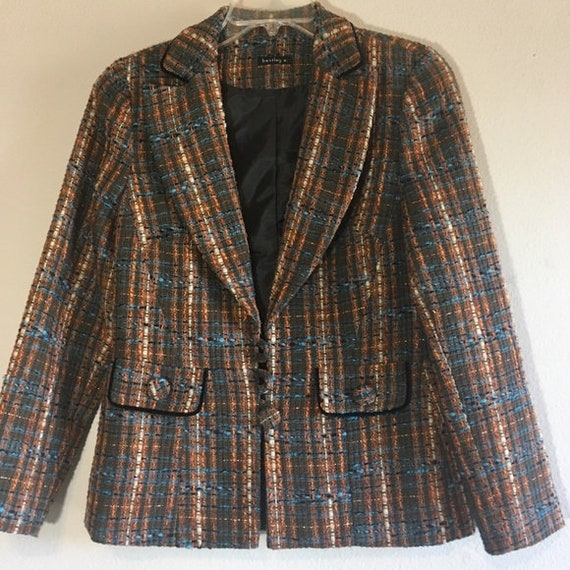 Vintage Tweed Suit Set Blazer Skirt Cami Matching… - image 3