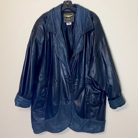 Black Leather Jacket Vintage Coat