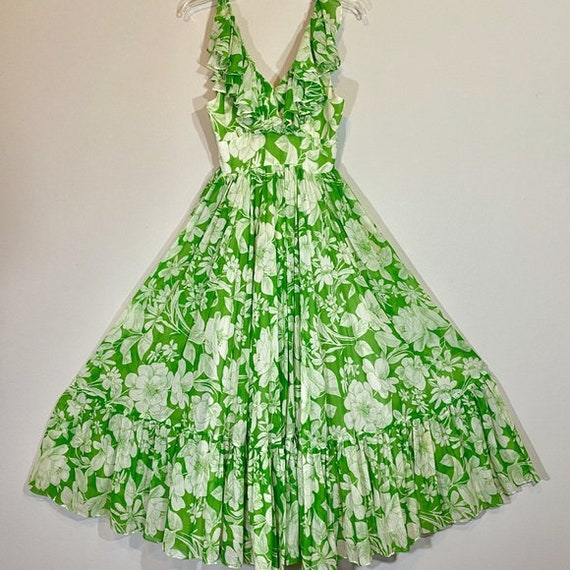 Vintage Maxi Dress Floral Print Ruffles Denise Was