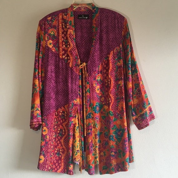 Vintage Floral Top Oversized Tunic Front Tie