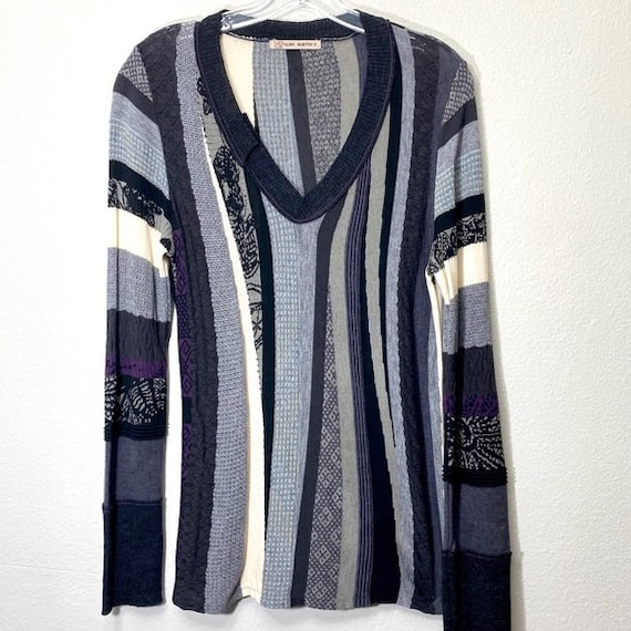 Vintage Knit Sweater Thermal Henley Top