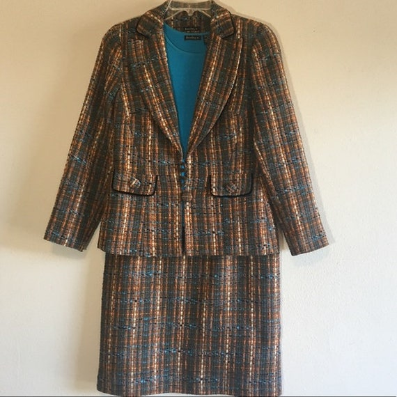 Vintage Tweed Suit Set Blazer Skirt Cami Matching