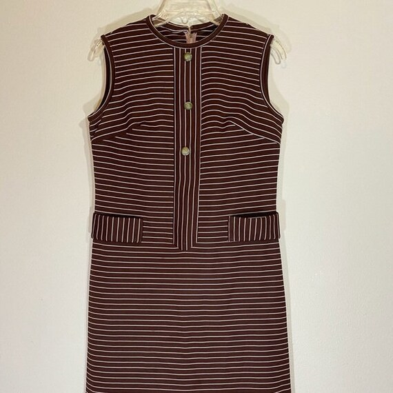 Vintage Sheath Dress Shift Mad Men Button Down 70s