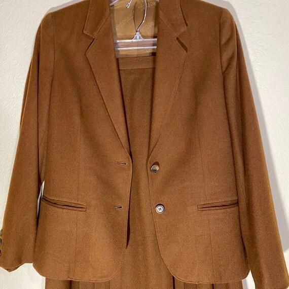 Wool Blazer Skirt Set Pleated Midi Matching Suit - image 2