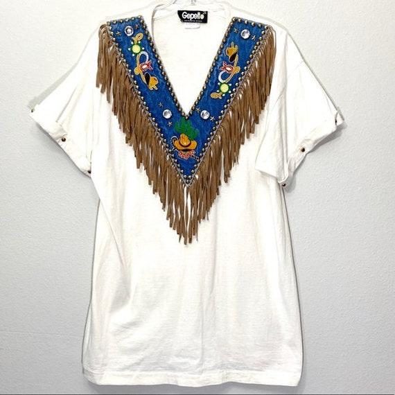 Fringe Western Tee Shirt Embellished Cowboy Studs