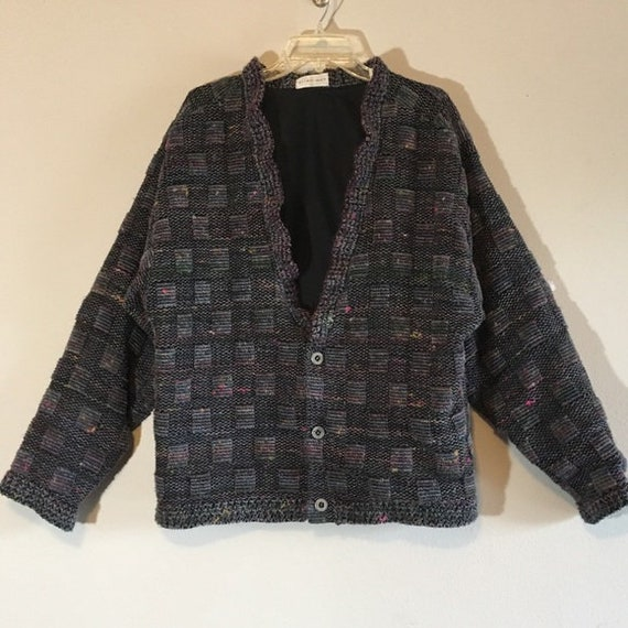 Vintage Cardigan Top Oversized Patchwork Button Up