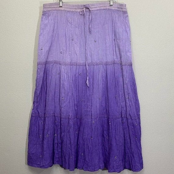 Vintage Tiered Boho Skirt Crochet Tie Dyed A-line
