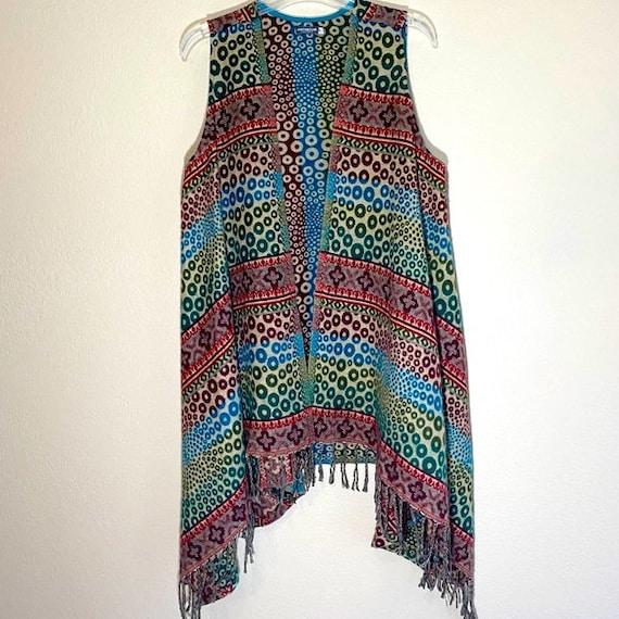Hippie Fringe Vest Oversized Vintage Earthbound