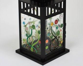 Fused Glass Dragonfly and Bee Lantern, Lantern Decor, Hanging Lantern, Candle Lantern, Lantern Light, Outdoor Lantern, Backyard Lantern