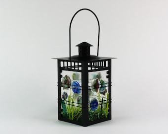Glow In The Dark Fused Glass Lantern, Lantern Decor, Hanging Lantern, Candle Lantern, Lantern Light, Outdoor Lantern,Backyard Lantern