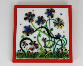 Fused Glass Multi-Colored Flowers Wall Art, Fused Glass Wall Art Decor, Fused Glass, Fused Glass Art, Wall Art
