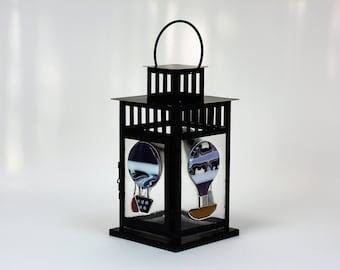 Fused Glass Lantern with Hot Air Balloons, Dirigible Metal Lantern, Hanging Lantern, Outdoor Lighting, Hanging Lamp Light