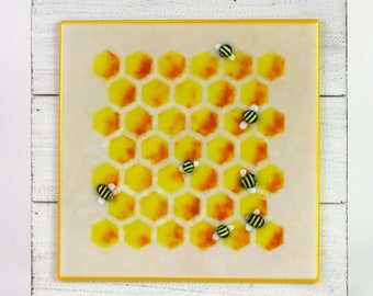 Fused Glass Bees and Honeycomb Wall Art, Fused Glass Beekeeper Art, Beehive Art, Honey Bee Glass Wall Art, Bee Patch Art,Fused Glass Bee Art