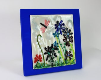Fused Glass Blue Flowers with Dragonfly Wall Art, Fused Glass Wall Art, Fused Glass Art, Wall Art, Fused Glass Art Decor, Glass Wall Art