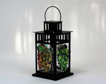 Vineyard Grapes, Vines and Leaves Lantern, Grape Arbor Lantern, Lantern Decor, Hanging Lantern, Candle Lantern, Lantern Light, Outdoor Light