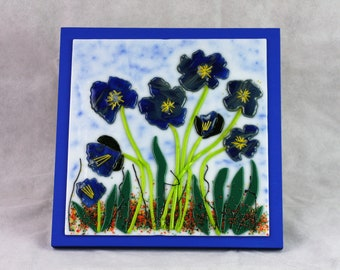 Fused Glass Blue Flowers Wall Art, Fused Glass Wall Art, Fused Glass, Fused Glass Art, Wall Art, Fused Glass Art Decor, Glass Wall Art
