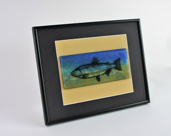 Fused Glass Casting of Swimming Trout Mounted In Frame, Lake Fish Art, Marine Life Art, Freshwater Fish Art, Water Scene Glass Art