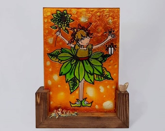 Vitrail Art Wooden Stand  Glass Art Stand  Vitral Art on Wooden Base  Stands Tabletop