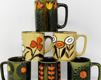 Mid Century Mugs - YOU PICK - Green, Beige, Orange Floral Mugs - Stoneware - Cups - Stoneware Pottery - Farmhouse Decor - Mid Century - MCM