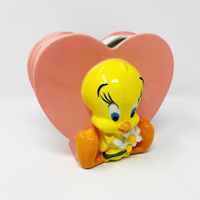 Heart Planter Looney Tunes Vase Tweety Bird Vase Tweety Bird Utensil Holder Warner Bros Studio Store Valentine 1998