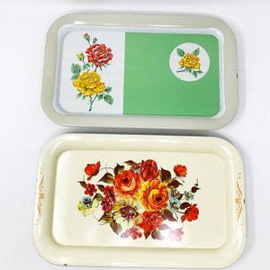 Faux Wood Flowers Paper-covered Fiberboard Trays Carry Stuff Four 1950s  /'Hasko deLuxe Lap Trays/' Original Box Serving Trays