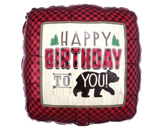 scout party outdoors birthday party happy camper balloon lumberjack birthday 18 Cut Timber Mylar Balloon camp themed party decor 1ct