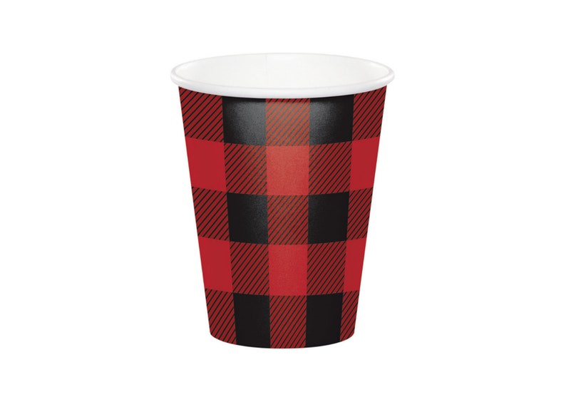 lumberjack Lumberjack Plaid 9oz Cups explorers bear camp party paper cup 8ct summer party woodland party campfire themed party