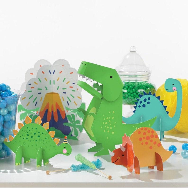dinosaur themed baby shower 5pc Dino-Mite Table Centerpiece Decorating Kit dino dig party decor T-Rex birthday dinosaur table decor