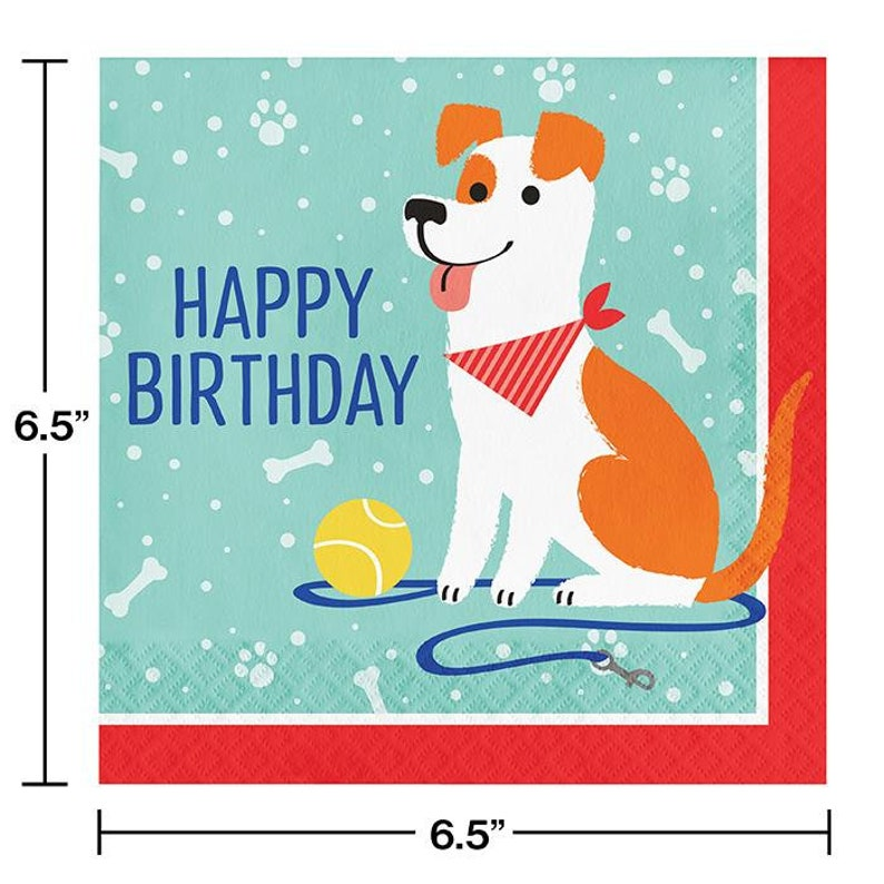 puppy dog themed party veterinarian party set Dog Party Happy Birthday Napkins let/'s pawty dog party supplies animal party decor 16ct