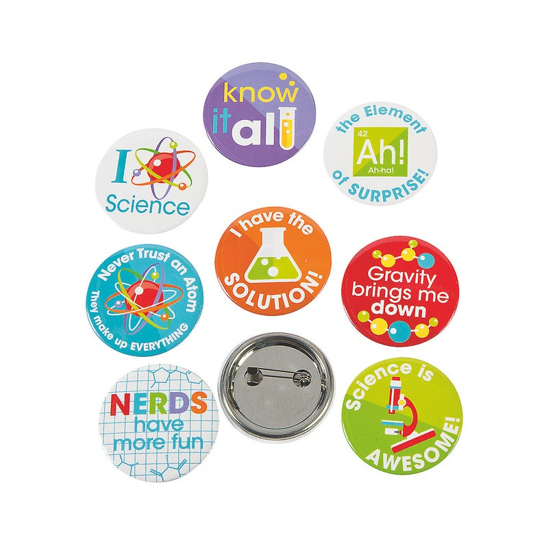 Science theme party 48ct Science Party Mini Buttons chemistry decor periodic table birthday party supplies mad scientist party favors