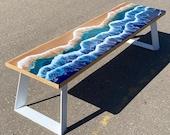 Epoxy Table, Custom Live edge Epoxy Resin Dining Table, Custom Epoxy Resin tabletop with ocean waves, Large Epoxy Resin, Natural Wood Table