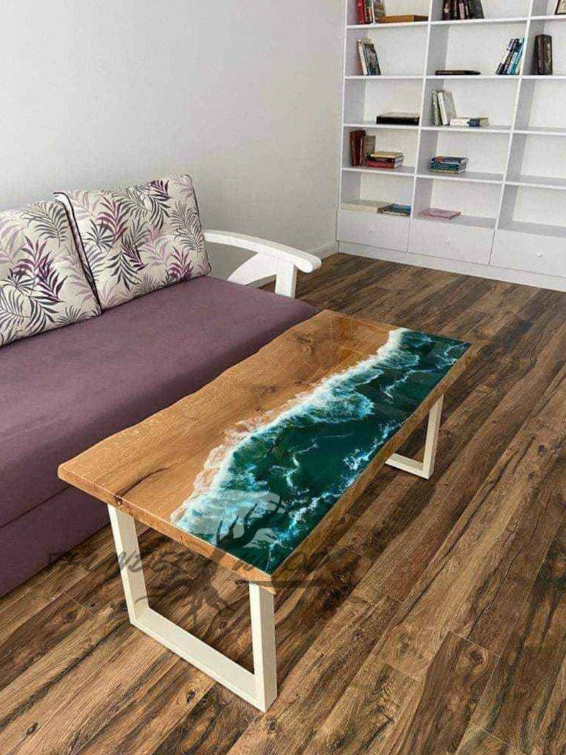 Kitchen Table made with Resin, Ocean Waves and Wave Art