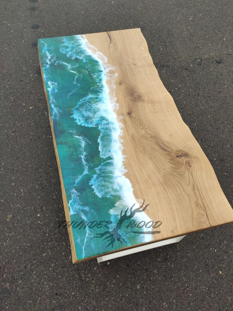 Blue White Epoxy Resin River Table - Poplar Dining Table Tree