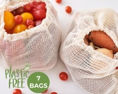 Mesh Produce Bags, Zero Waste Gifts, Plastic Free Sustainable Bags, Reusable Snack Bags, Vegan Presents, Grocery Bag Mindfulness Gift