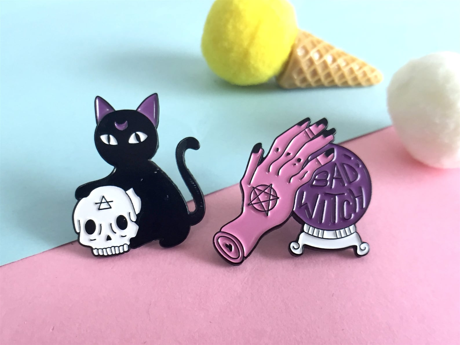 cat and skull enamel pin and bad witch enamel pin