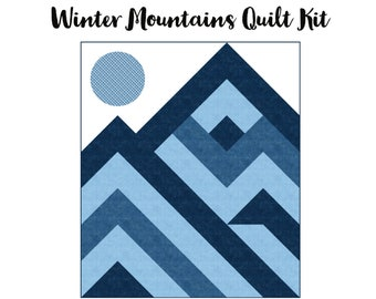 Winter Mountains Wall Hanging Quilt Kit  --  Ft. Northcott Got the Blues fabric and Charisma Horton pattern