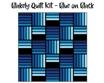 Blakely Quilt Kit - Blue on Black (Throw & Queen size) -- Ft. Then Came June