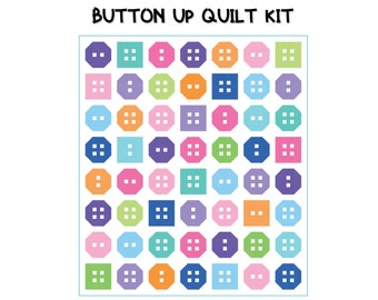 """Button Up Quilt Kit (61.5"""" x 70"""") -- Ft. Me & My Sister designer collection of Bella Solids from Moda"""