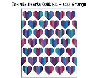 "Infinite Hearts Quilt Kit (48"" x 60"") - Cool Grunge"