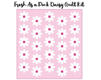 """Fresh As A Daisy Quilt Kit (59.5"""" x 63.5"""") - Pink & White"""