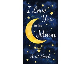 """I Love You To The Moon & Back 24"""" Navy Panel -- Timeless Treasures"""