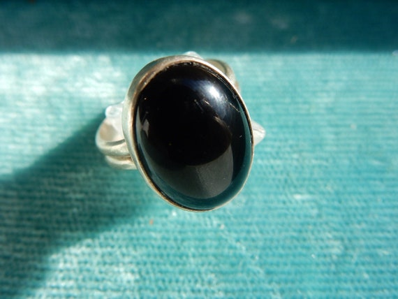 Boho Onyx and Silver Ring, Vintage Aesthetic, Boho