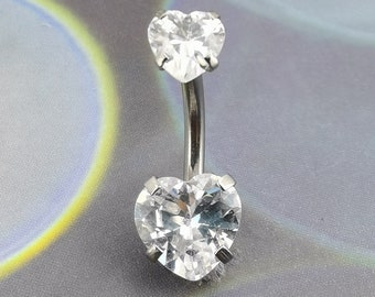 Sterling Silver Belly Naval Bar Heart Crystal Clear SB7010 Jewellery Company