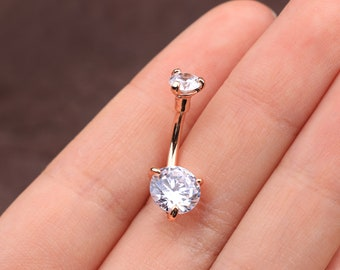 14G Internally Threaded Double Prong Clear CZ Belly Ring/ Faceted Round Cubic Zirconia Belly Button Ring/ Silver & Rose Gold Navel Piercing