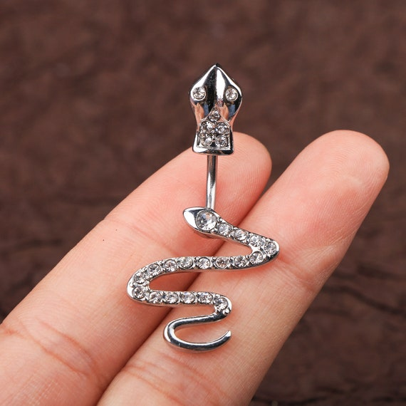 Body Jewelry Corkscrew Charm With Pink Gem Stone Belly Button Ring Belly Button Ring