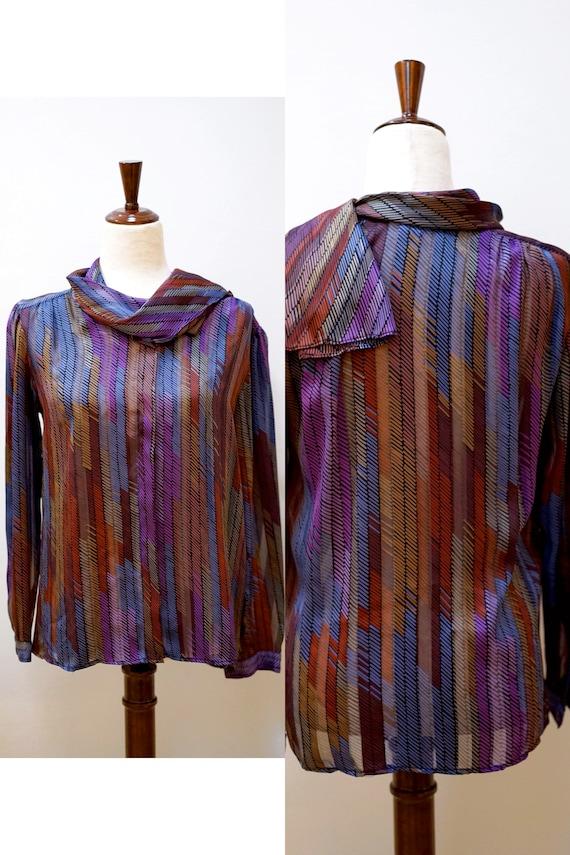 rainbow blouse Vintage 1980s1970s Nordstrom Chevron Blouse