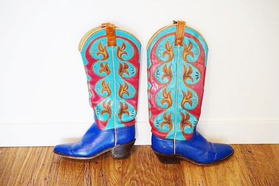Vintage 1970s ACME Blue Turquoise and Pink Cowboy